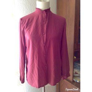 Vintage mauve silk high neck long sleeve blouse
